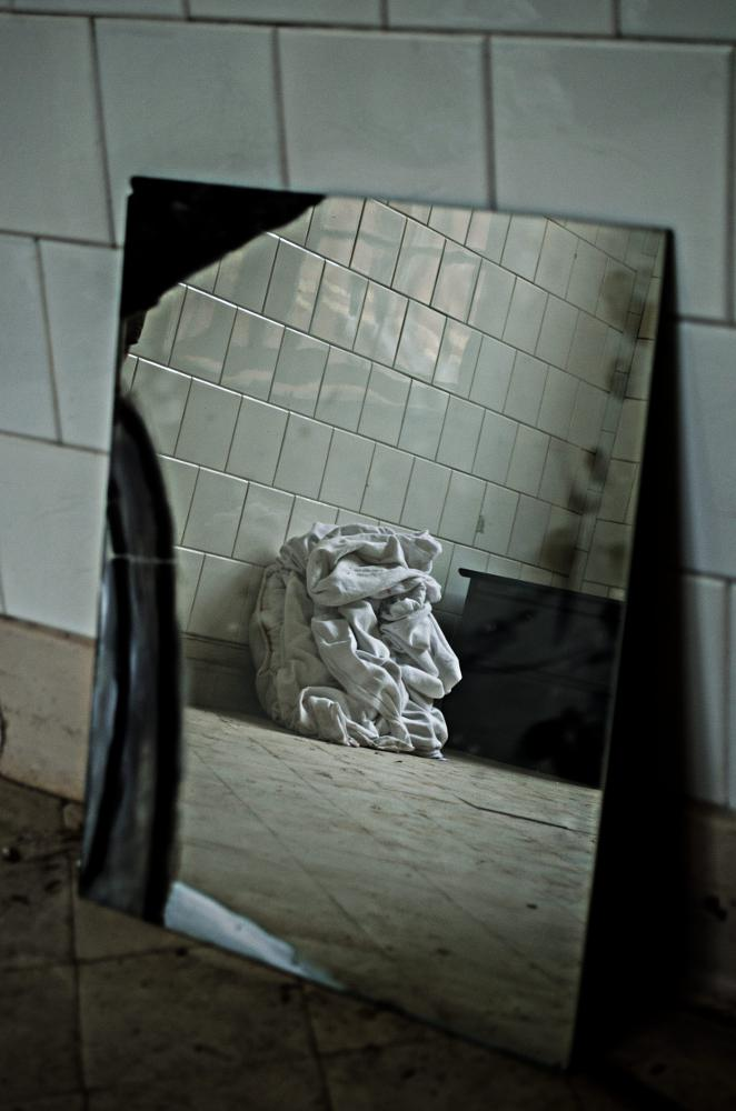 Photo in Urban #mirror #bed sheet #abandoned hospital