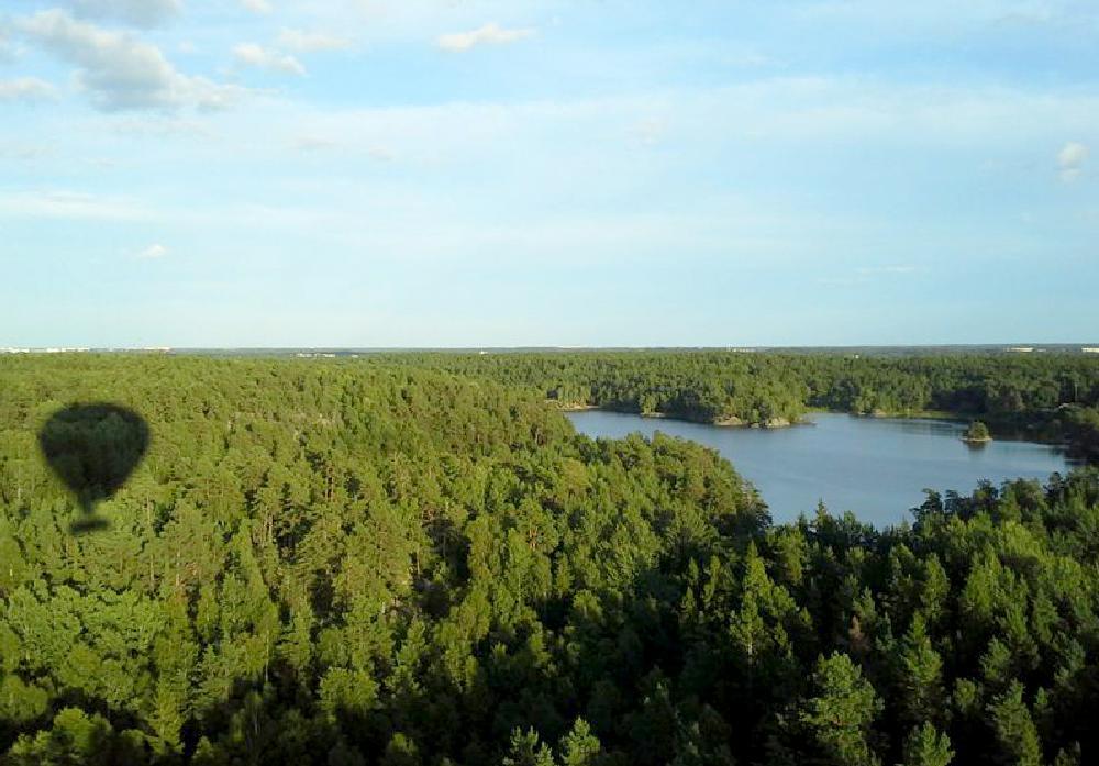 Photo in Landscape #hot air balloon #summer #himmel och sjö #heaven #secret lake #forrest