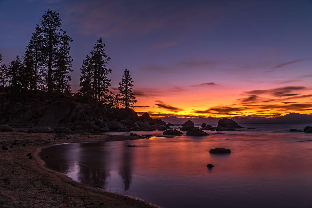 Photo in Landscape #sunset #tahoe #lake #rocks #trees