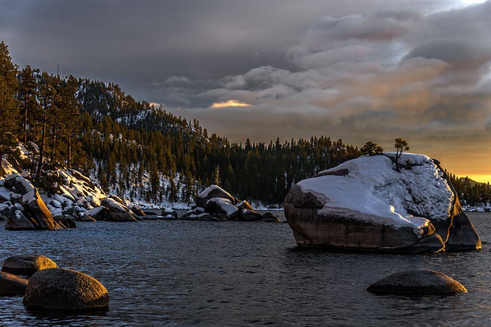 Photo in Landscape #rock #trees #lake #snow #tahoe