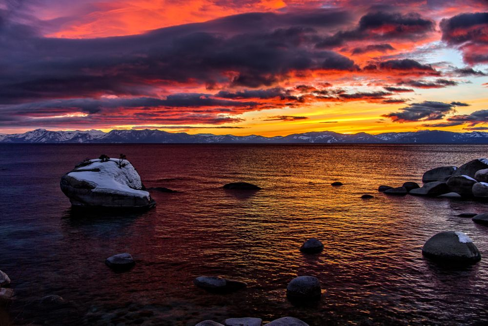 Photo in Landscape #tahoe #lake #sunset #rocks #stormy