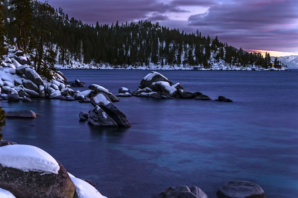 Photo in Landscape #tahoe #mountains #winter #rocks #snow #trees