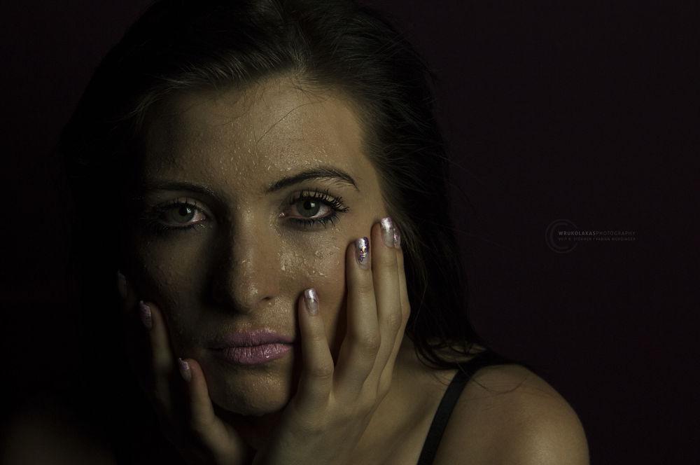Photo in Portrait #water drops #woman #face #pink lips #green eyes