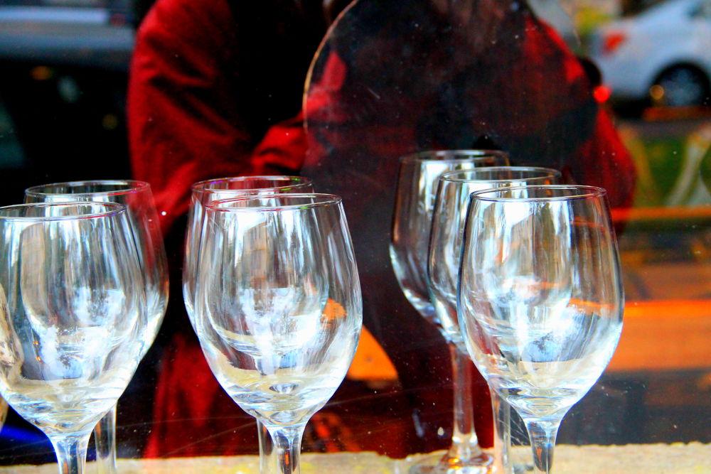 Photo in Cityscape #santiago #chile #cityscape #reflections #wine glasses