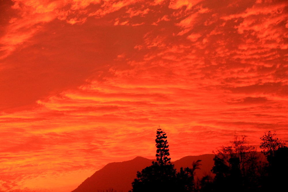 Photo in Nature #santiago #chile #sunset #nature #red sky