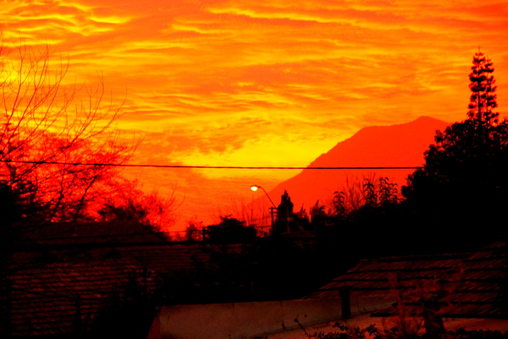 Photo in Nature #santiago #chile #nature #sunset #red sky