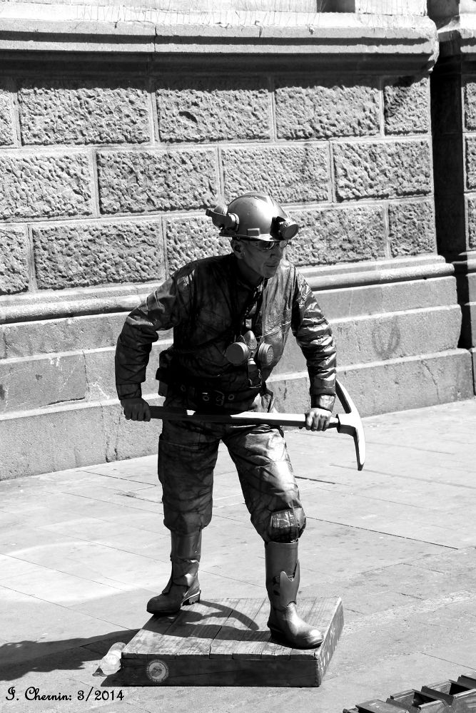 Photo in Black and White #santiago chile #street photography #black and white #people #miner