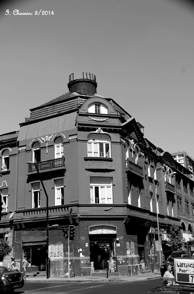Photo in Black and White #santiago chile #black and white #street photography #cityscape #buildings