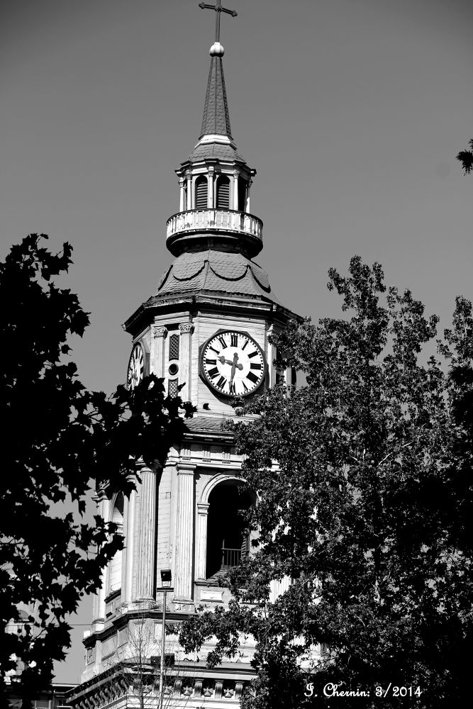 Photo in Black and White #santiago chile #black and white #cityscape #street photography #church #belfry