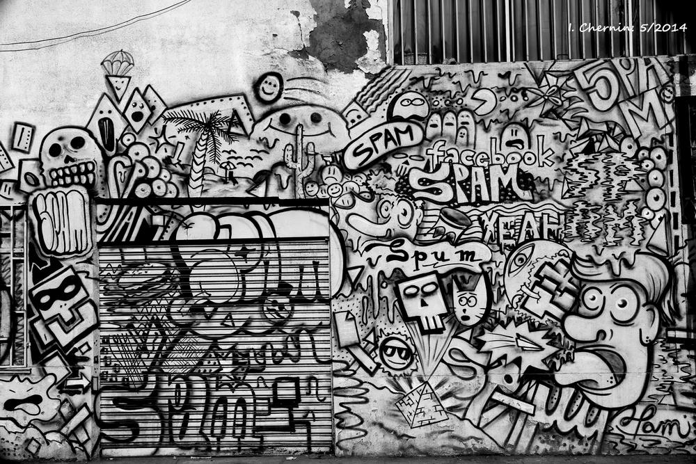 Photo in Black and White #santiago #chile #black and white #street photography #urban #grafitti