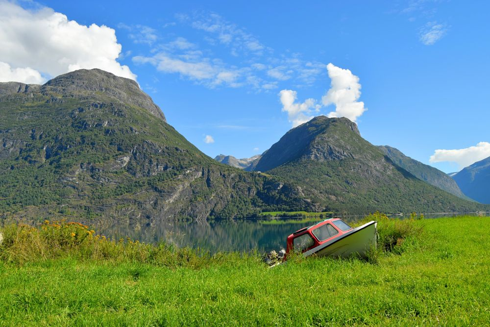 Photo in Random #boat #mountains #national park #lake #bluesky