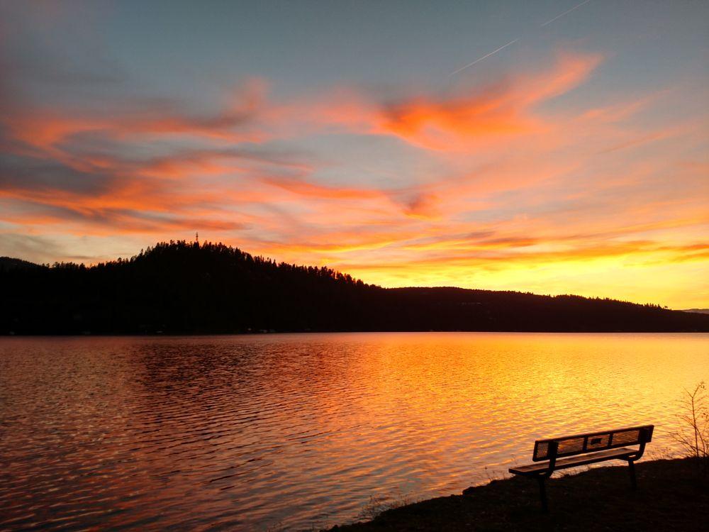 Photo in Landscape #justidaho #lake #northidaho #sunset #coeurdalene #solitude