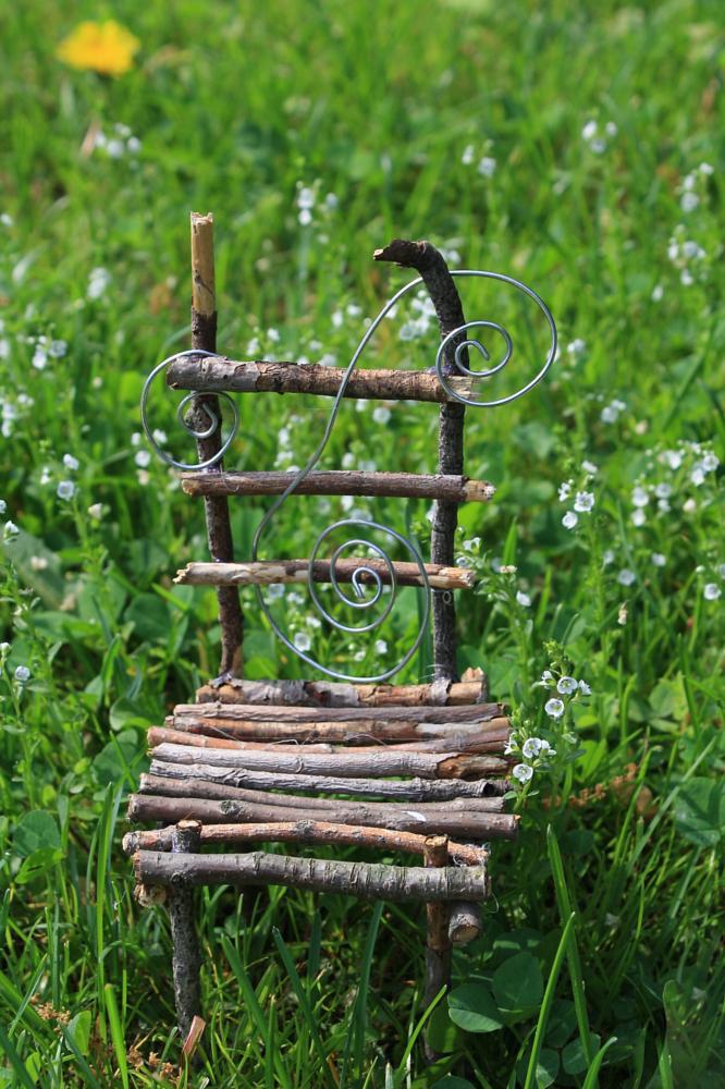 Photo in Random #chair #furniture #fairy #faerie #fairy garden #bettina makley #sticks #flowers #wire sculpture #tiny #small