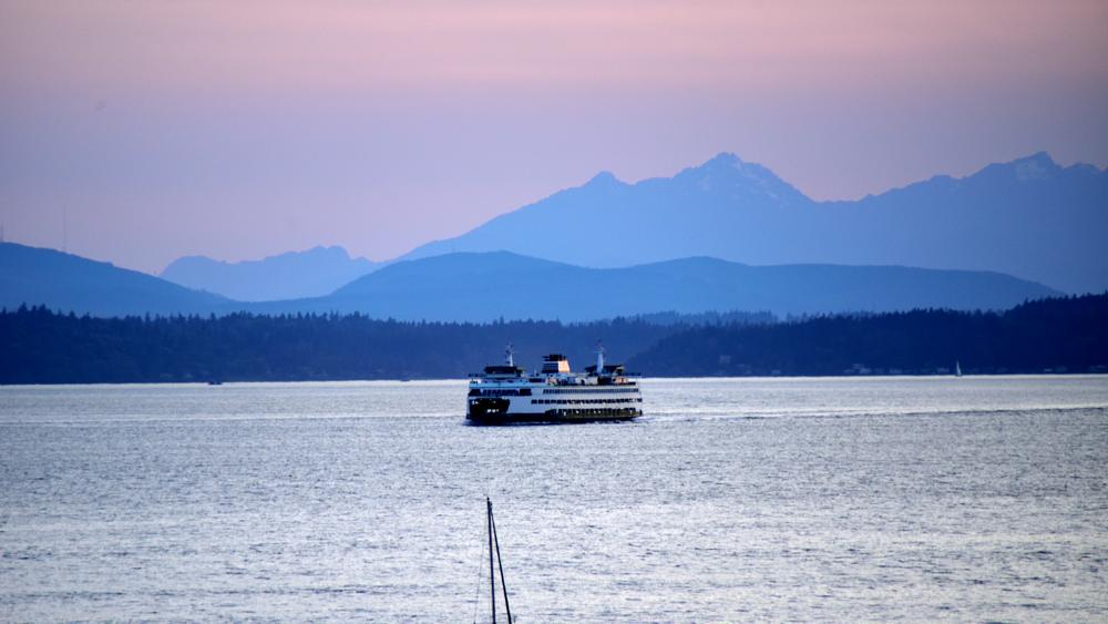 Photo in Travel #sunset #ferry system #sailing during sunset
