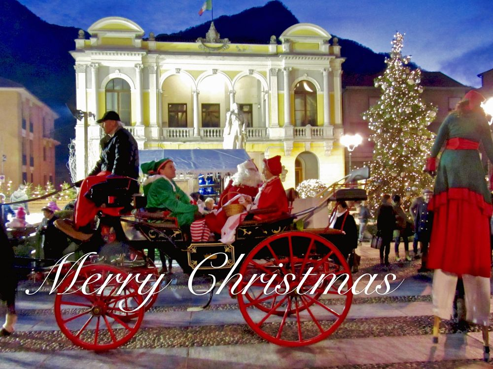 Photo in Vintage #christmas #santa claus #greetings #parade #red #carriage #lights #merry