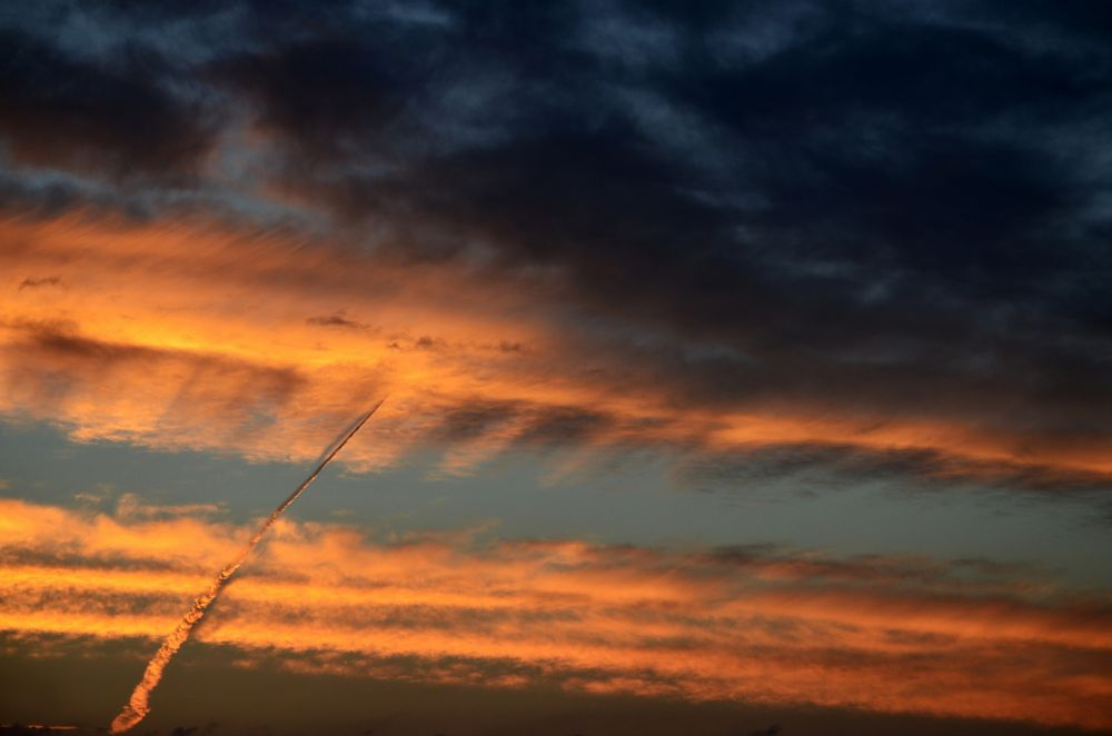 Photo in Abstract #arrow #contrail #sunset #sky