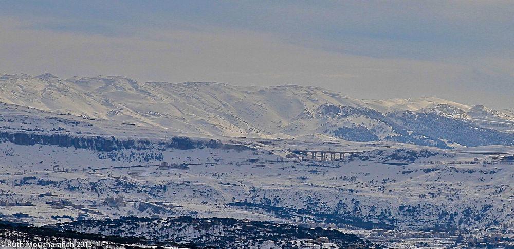 Photo in Landscape #lebanon #mudeirej #bridge #snow #mountains #winter #landscape