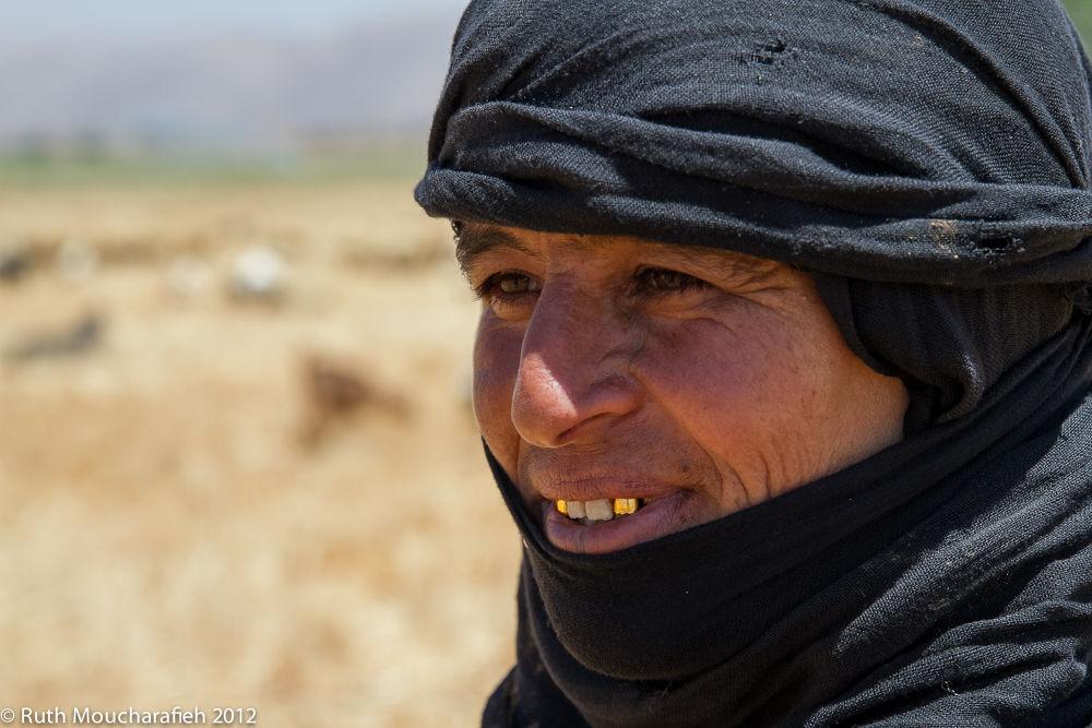 Photo in Portrait #lebanon #beqaa valley #shepherdess #woman #work #labour #teeth #gold #smile #summer