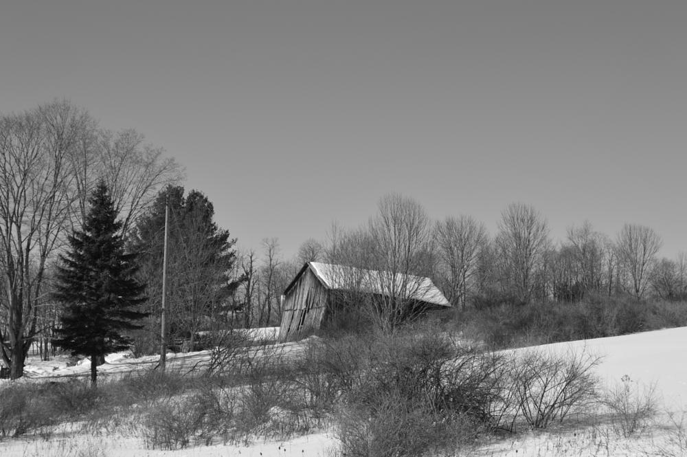 Photo in Architecture #barn #snowscape #decrpit #hills