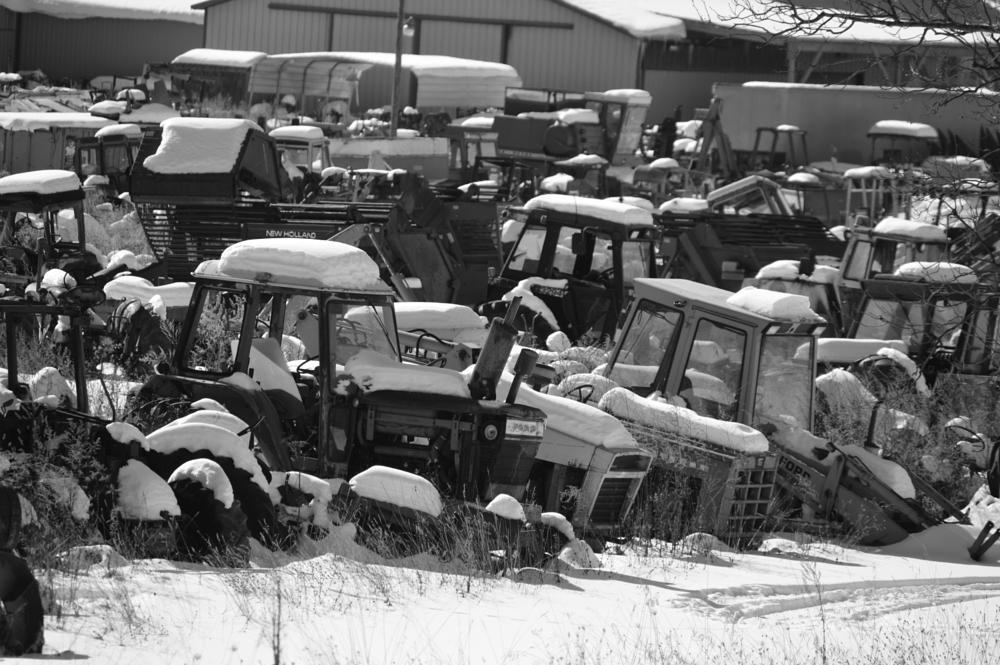 Photo in Landscape #tractor #junkyard #winter #snow blue
