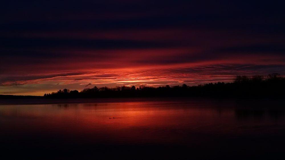 Photo in Landscape #landscape #lake #sebasticook #newport #maine #sunrise #water #morning #sky