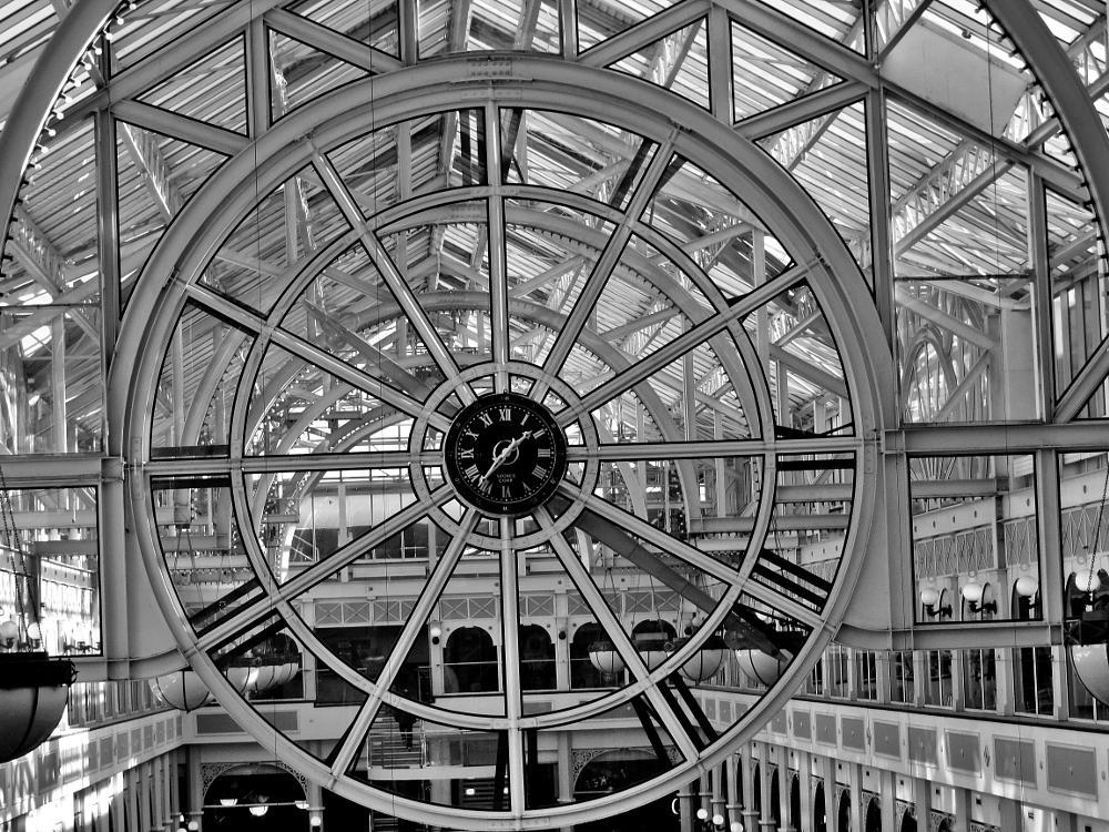 Photo in Black and White #mall #dublin #ireland #clock #black and white