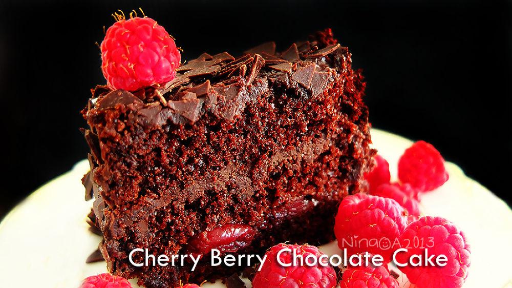 Photo in Random #cherry berry #chocolate cake #sweet tooth