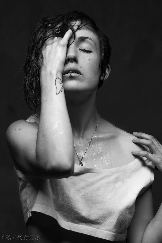 Photo in Portrait #ypa2013 #wet hair #black and white #noir et blanc #girl #portrait #tatoo #piercing #tatouage #wet
