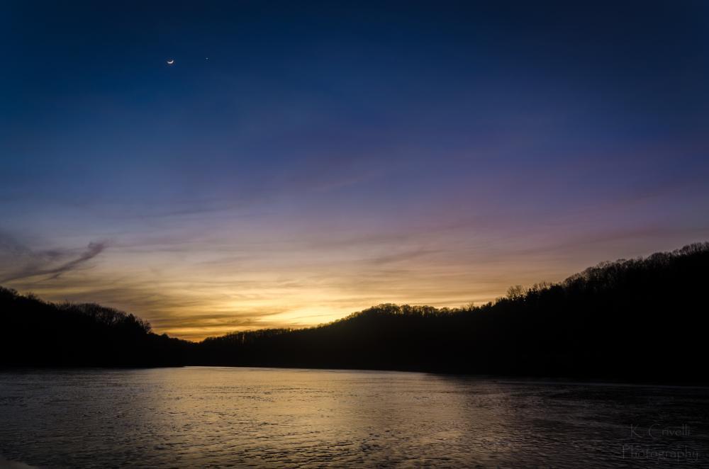 Photo in Landscape #moon #venus #lake #sunset #raccoon state park