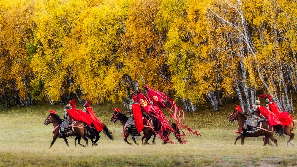 Photo in Random #cavalry #horse #warrior #ancient #china #fall #color #tree #cape #army #movie #film #scene