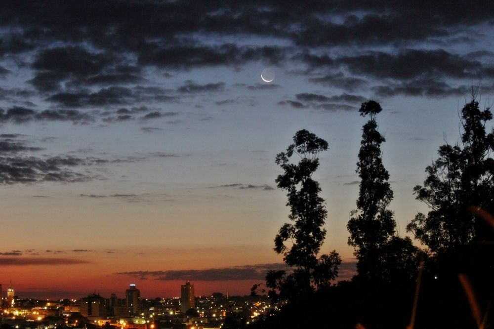 Photo in Random #moon #crescent #twilight #sky #evening #trees #city #lights #cityscape #skyscape #nature #colors #clouds