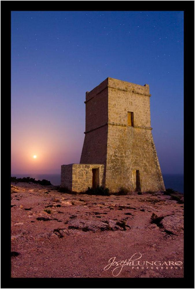 Photo in Architecture #golden bay #malta #tower #moon light #moon