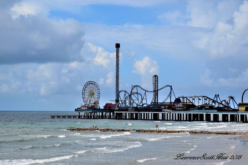 Photo in Sea and Sand #pleasure pier #amusement park #ferris wheel #roller coaster #ocean #sea #tide #waves #nature #water