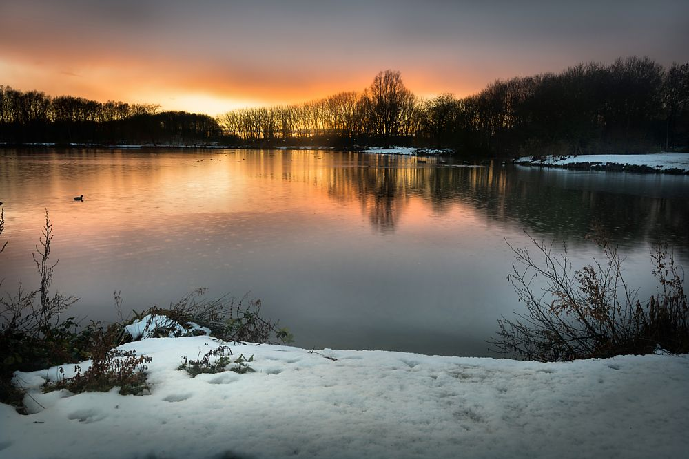 Photo in Landscape #snow #netherlands #holland #zuid holland #europe #travel #lake #beauty #snow time