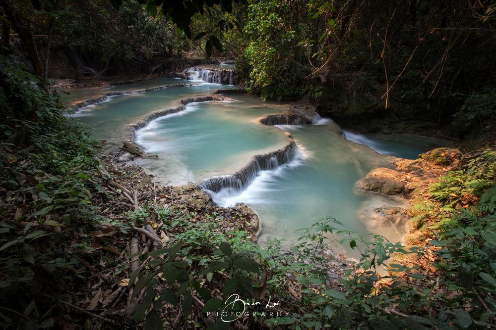 Photo in Random #kuang si waterfall #kuang si #waterfall #long exposure #dirt #stream #leafs #leaf #ypa2013