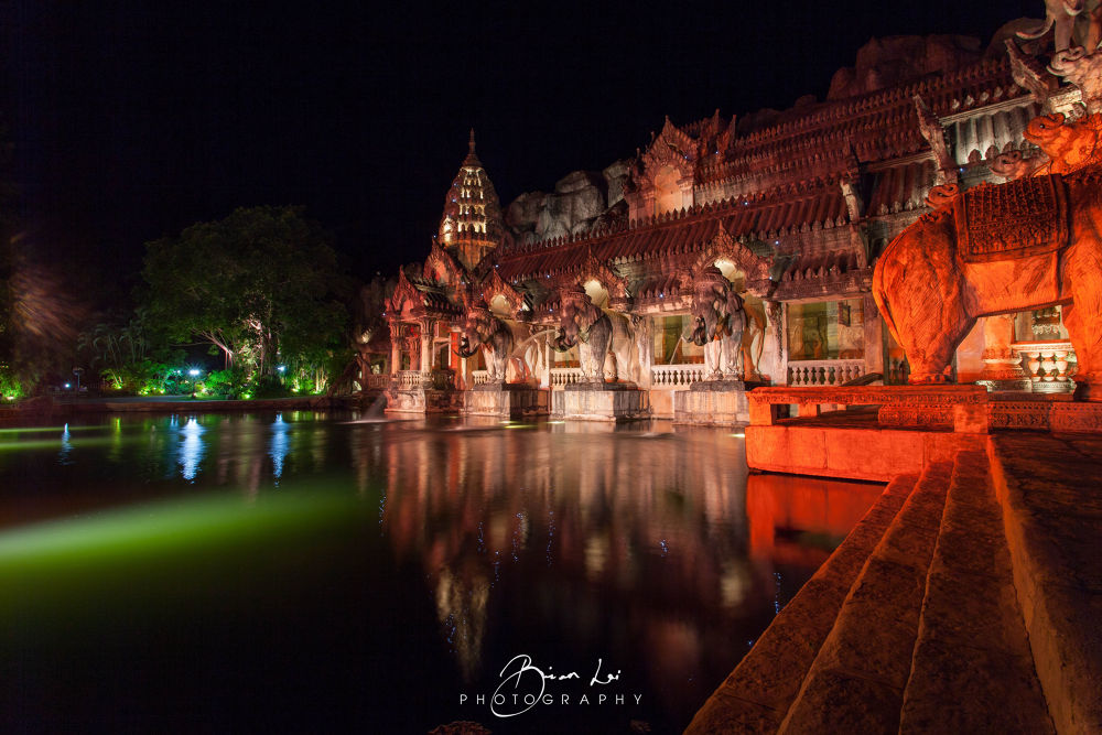 Photo in Architecture #phuket #thailand #fantasea #show #elephant #stone #statue #stream #water #pond #night #lights