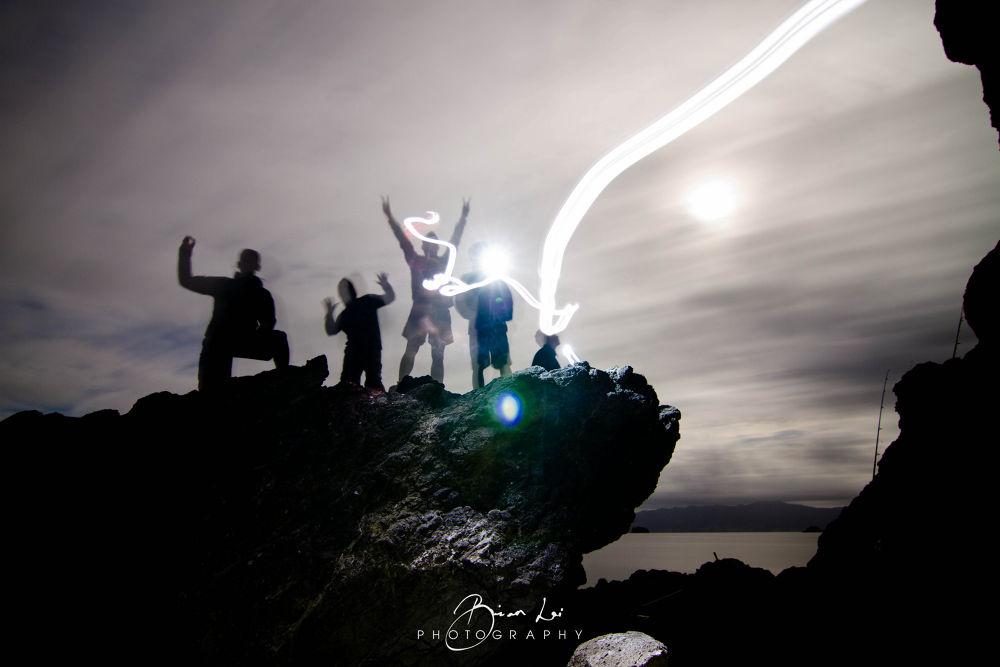 Photo in Random #friend #friends #long exposure #light #lighs #cloud #fishing #rock #rockisland #island #people #gather #ypa2013
