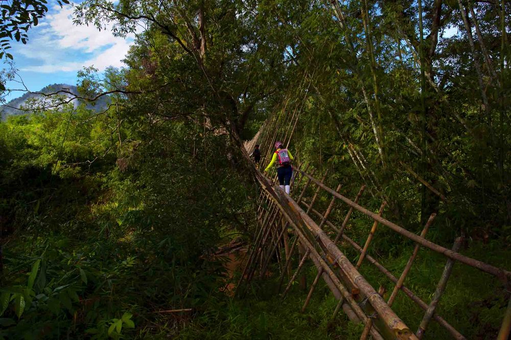 Photo in Random #the bamboo structure bridge
