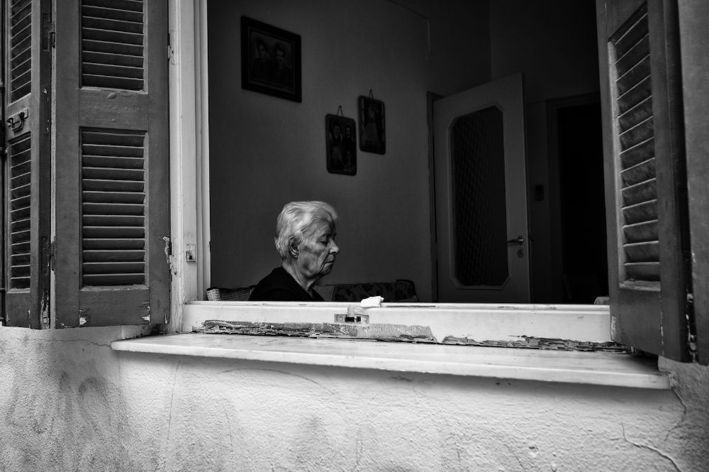 Photo in Street Photography #mono #monochrome #b&w photography #candid photography #street hunters #street photography #sony nex #nex-6 #20mm #sel20f28 #portrait #old lady #window #sitting #alone
