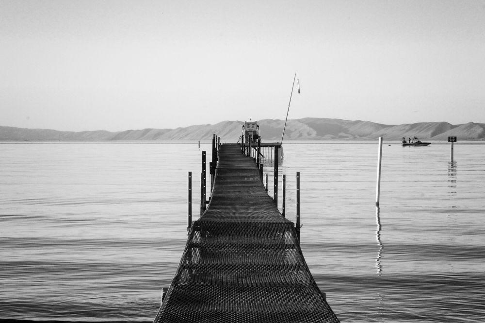 Photo in Black and White #dock #lake #water #blue water #bear lake #utah
