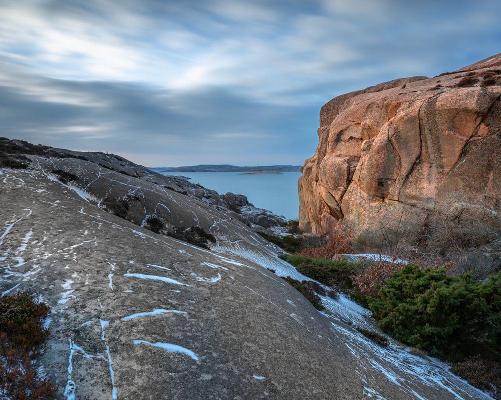 Photo in Landscape #gneiss #granite #red #sunbathing #canyon #deep #sea #clouds #cloudscape #smooth #hard #lysekil #sivik #bohuslän #västsverige