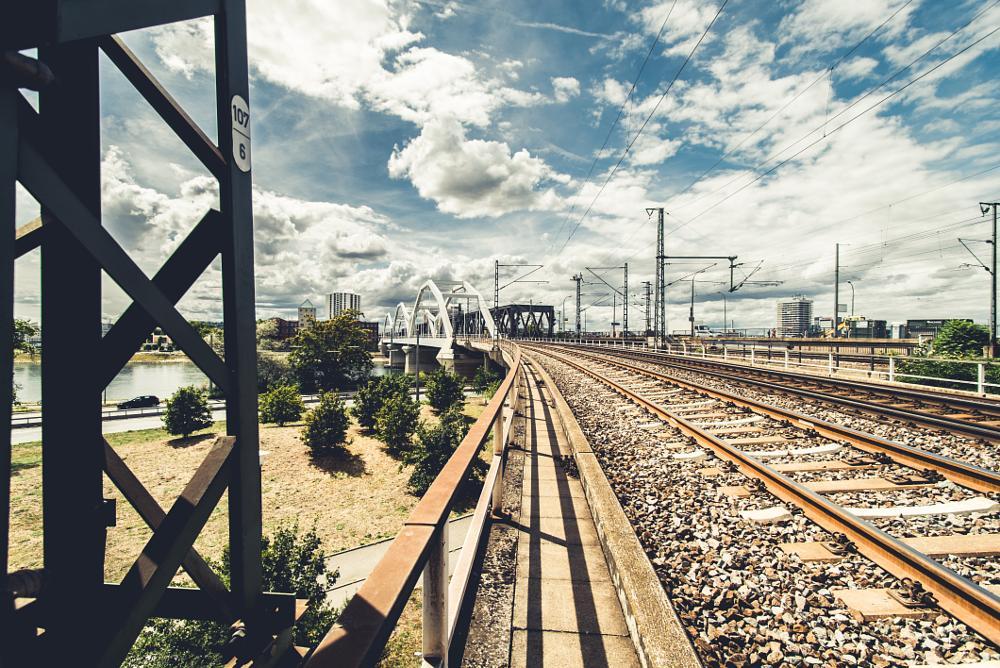Photo in Architecture #railway #bridge #mannheim #urban #germany #train #architecture #street