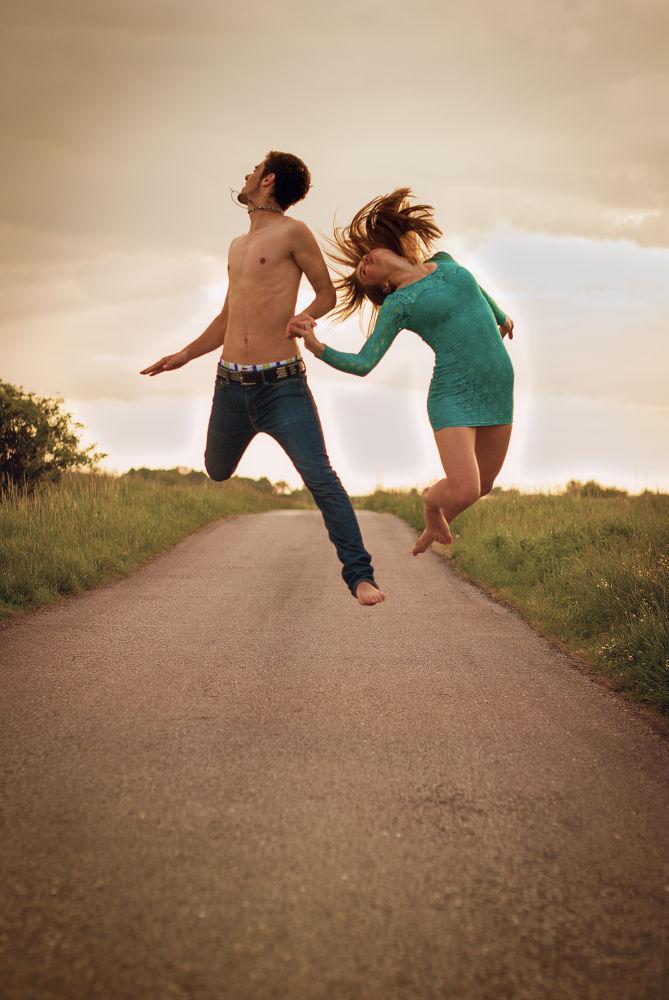 Photo in Random #couple #love #jump #fun