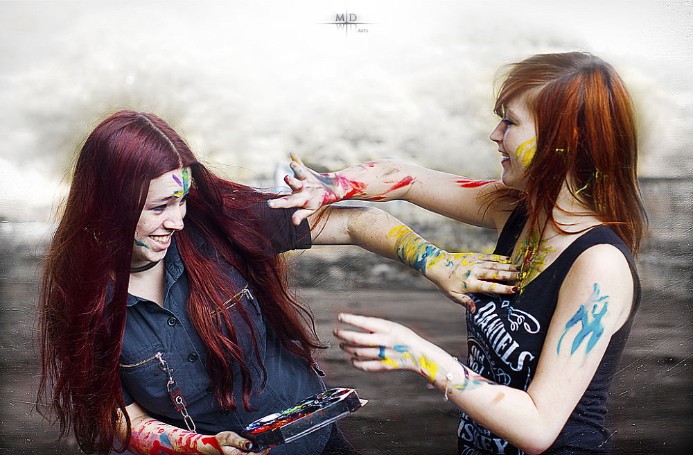 Photo in Random #girl #girls #redhead #teens #young #red #hair #orange #color #colors #battle #fight #paint #painting #urban #urbex #fun #funny #laugh #laughing #smile #smiling #white #emo #gothic #black #shirt