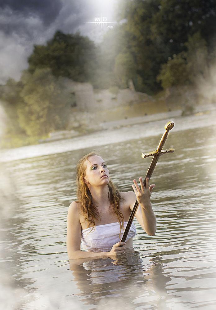 Photo in Random #girl #lady of the lake #lady #lake #pond #river #legend #king #arthur #kaamelot #sword #blade #excalibur #goddess #angel #white #fog #mist #misty #castle #ruins #offering #wet