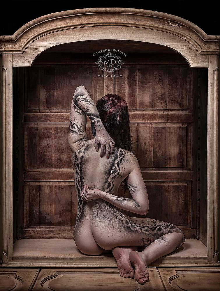 Photo in Nude #girl #nude #art #naked #bum #back #paint #painting #bodypainting #wood #wooden #furniture #brown #hands #distorted #star #stars #lace #artistic #carven #detail #detailed #body #arms #hair #skin #pale #brunette #mathieu #degrotte #constellations #curves #female #woman #beauty #dots #particles