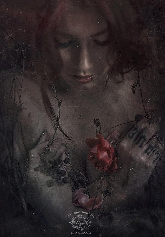 Photo in Fine Art #girl #portrait #close #hand #hands #rose #love #tattoo #inked #babydoll #doll #beauty #gorgeous #loving #ghost #spirit #faded #flowers #hold #holding #heart #red #lips #face #sad #sadness #cute #dark #black #mood #nightwish #song #lover #woman #petals
