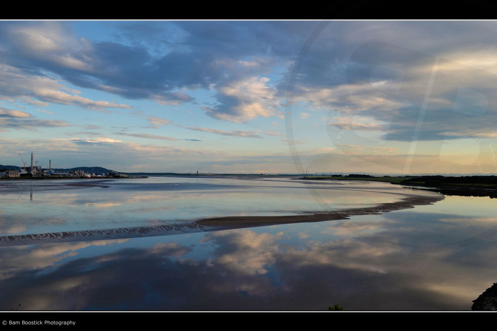 Photo in Sea and Sand #river #mersey #runcorn #widnes #liverpool #united #kingdom #factory #sky #clouds