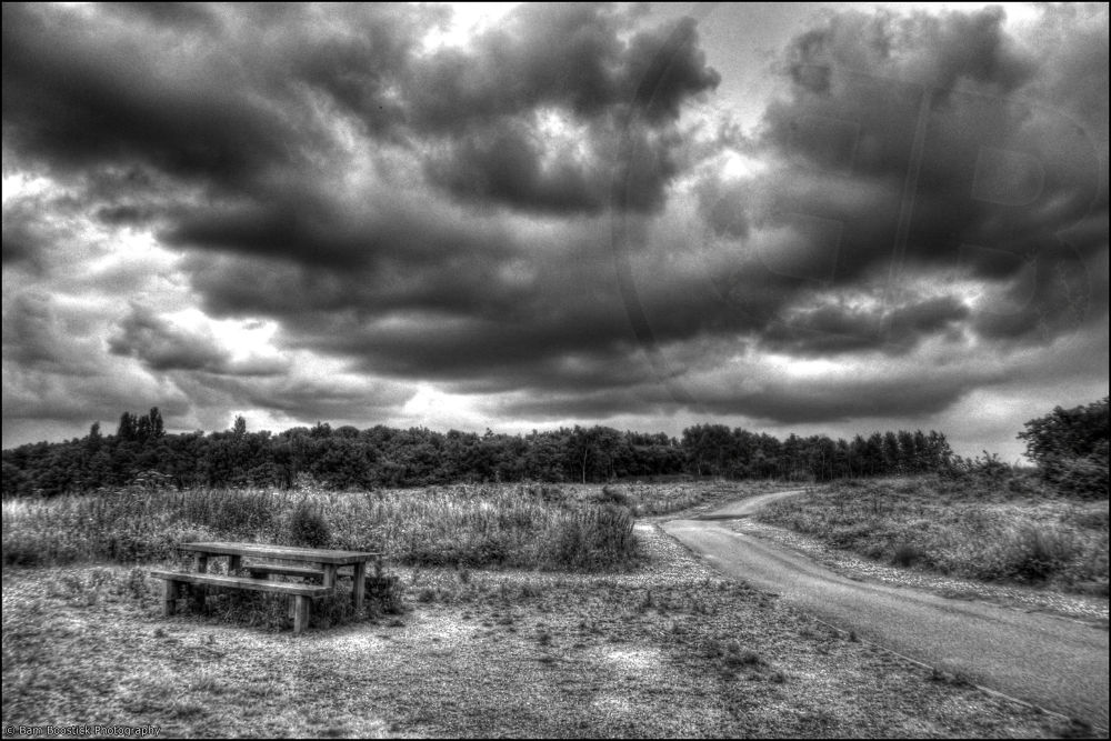 Photo in HDRI #picnic #bench #wigg #island #runcorn #united #kingdom #england #hdr #high #dynamic #range #storm #clouds