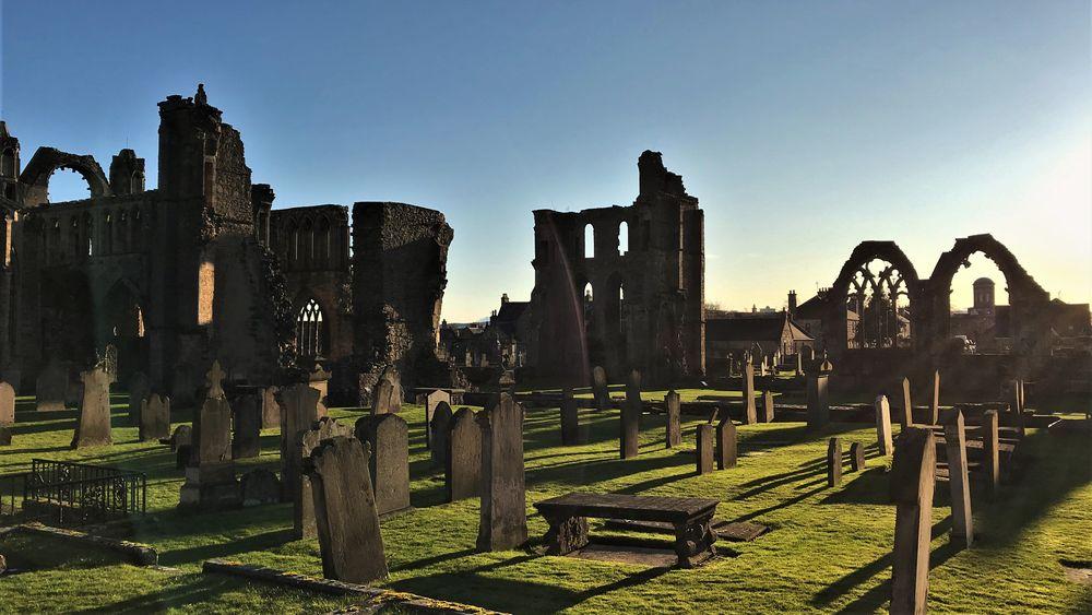Photo in Landscape #elgin #landscape #graveyard #cathedral #scotland #church #blue sky #sunshine